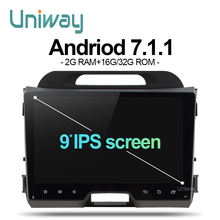 uniway AZP9071 android 7.1 car dvd for kia sportage 2014 2011 2009 2010 2013 2015 car radio stereo multimedia player(China)