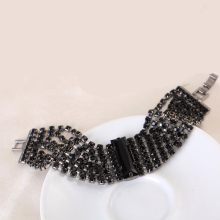 Brand designer new hot sell charming bride wedding crystal jewelry Shiny rhinestone Wide Bracelet for women 2016 Wholesale B024(China)