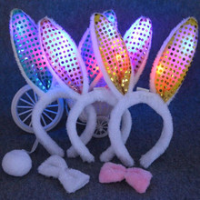 2017 LED Flashing Plush Fluffy Bunny Ears Headband Bow Tie Tail Rabbit Cosplay Costume Accessory Party Dress Up Decoration