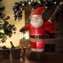 Goplus 4 ft Airblown Inflatable Christmas Santa Claus Lighted Party Decoration 2018 Gifts New Year Decor for Home CM19942(China)