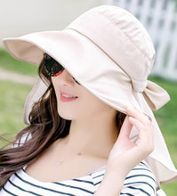 Waterproof Women Foldable Snapback Beach Hat Lady Summer Neck Face Protection Sun Hat Hiking Trip Fishing Cap Panama Female(China)
