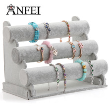 ANFEI 13 Differents Bracelet Display Style With High Quality Plush &Jute Material Bangle Bracelet Display Stand Holder