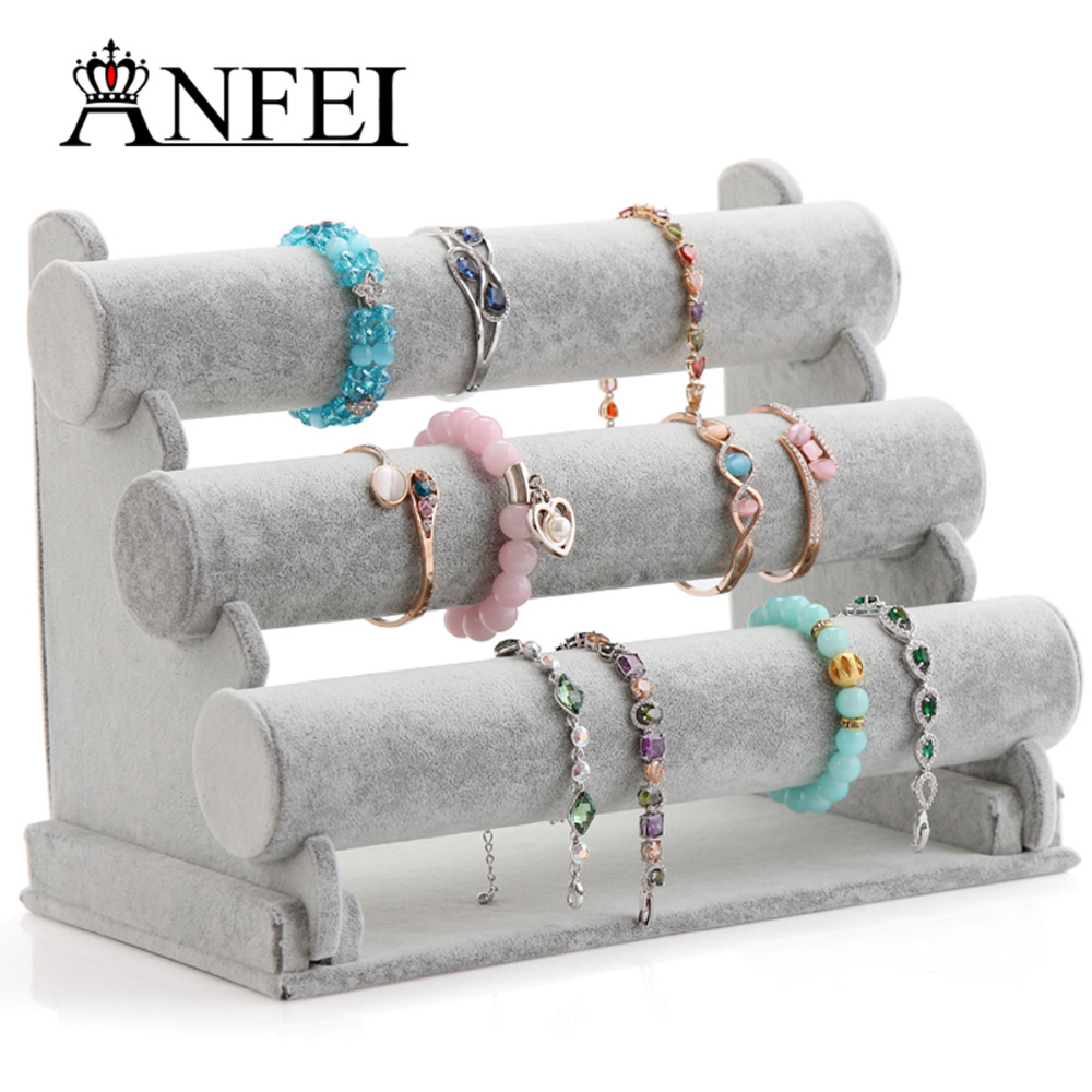 ANFEI 13 Differents Bracelet Display Style With High Quality Plush &Jute Material Bangle Bracelet Display Stand Holder(China)