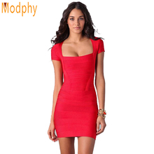 women fashion sexy red celebrity bandage dress elastic bodycon cap sleeve one piece party formal dresses drop ship HL1332