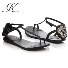 2017 Genuine leather Women Flat Sandals Clip toe shoes Diamond Decoration Sexy Young Girls School Shoes Party Box Packing b1869