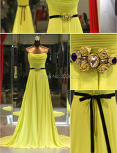 Real Sample Photo A Line Strapless Chiffon Long Prom Dress Formal Evening Gown vestido de festa amarelo