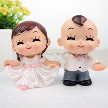 Lovely Girl and Boy Dannce Cake Topper, Funny Polyresin Figurine Bride Groom Doll Wedding Cake Toppers(China)