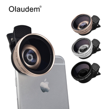 2 in 1 Professional HD 37mm 0.45X Super Wide Angle + 12.5X Macro Lens for iPhone Samsung HTC LG Mobile Phone Camera Lens CL1588