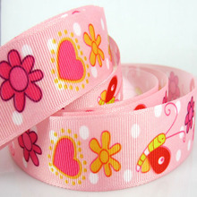 "10yard 1"" Printed snail flower heart pattern grosgrain ribbons pink ribbon bow for craft Scrapbooking 25mm(China)"