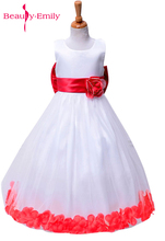 Beauty Emily 2018 Lovely lovely princess Girls Dresses For Wedding Gowns Cap Sleeve Sash Bow Girl Birthday Party Dress(China)