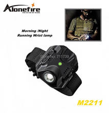 ALONEFIRE M2211 CREE XPE R2 LED 5model Built-in battery Morning/Night Run Wrist lamp Tactical light flashlight torch with cable