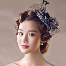 2016 Black Wedding Hats Artificial Beaded Feather Crocheted Appliqued Blossom Lace Bridal Hats Vintage UK Style Women Party Hat(China)