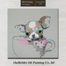 Professional Painter Directly Supply Handmade Funny Animals Teacup Poodle Oil Painting On Canvas Puppy Dog Oil Painting
