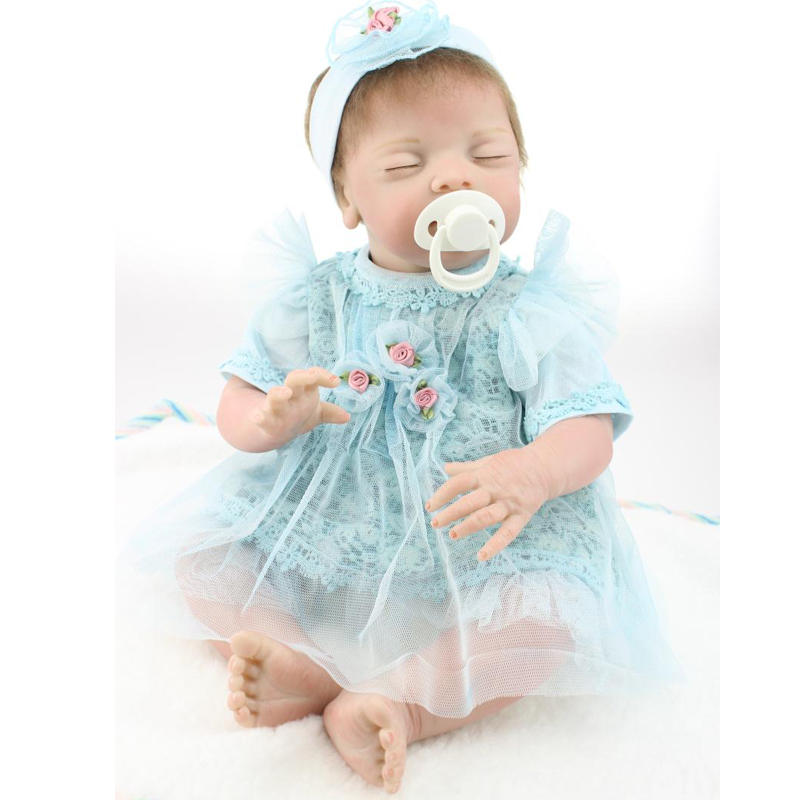 UCanaan 50-55cm Closed Eyes Handmade Silicone Reborn Baby Doll Soft Cloth Body Cute Baby Toys  Best Gift to Child DIY<br><br>Aliexpress