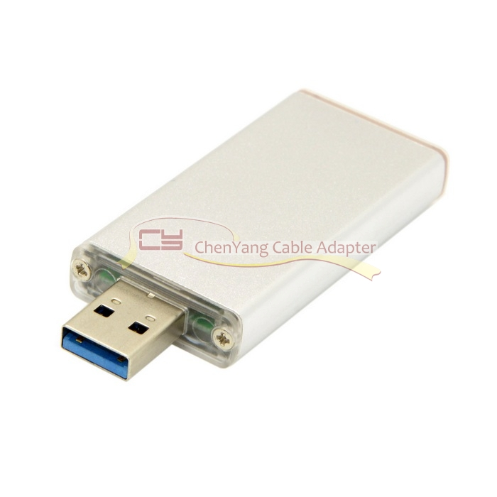 10PCS/CY 42mm NGFF M2 2 Lane SSD to USB 3.0 External PCBA Conveter Adapter Card Flash Disk Type with Silver Case