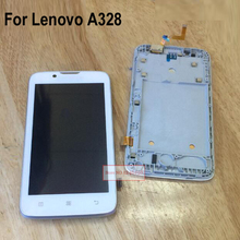100% GOOD Working Black White Full LCD Display Touch Screen Digitizer Assembly With frame For Lenovo A328 Sensor Replacement