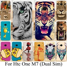 Soft TPU Silicone Cartoon Animal Cases for HTC ONE M7 801E (Single) 802W 802D 802T (Dual Sim) tiger deer lion animal Painted bag