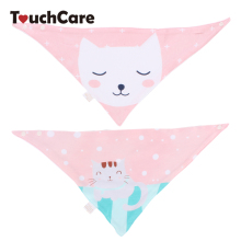 Clearance 2Pcs Cartoon Animal Print Baby Bibs Infant Cotton Double Layer Bandana Saliva Towel Newborn Triangle Scarf Burp Cloths(China)