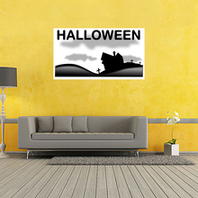Halloween Graveyard Poster Pumpkins Black Cat Witch's Broom Cartoon Art Picture Home Decoration Wall Silk Poster 20x35 inch