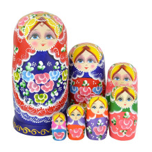 Beautiful Set of 7 Cutie Nesting Dolls Matryoshka Madness Russian Doll Wooden Wishing Dolls Toy FJ88(China)