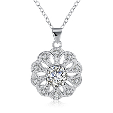 N851 Silver Flower CZ crystal pendant necklace fashion jewelry beautiful Christmas gift for woman good quality Factory Outlet