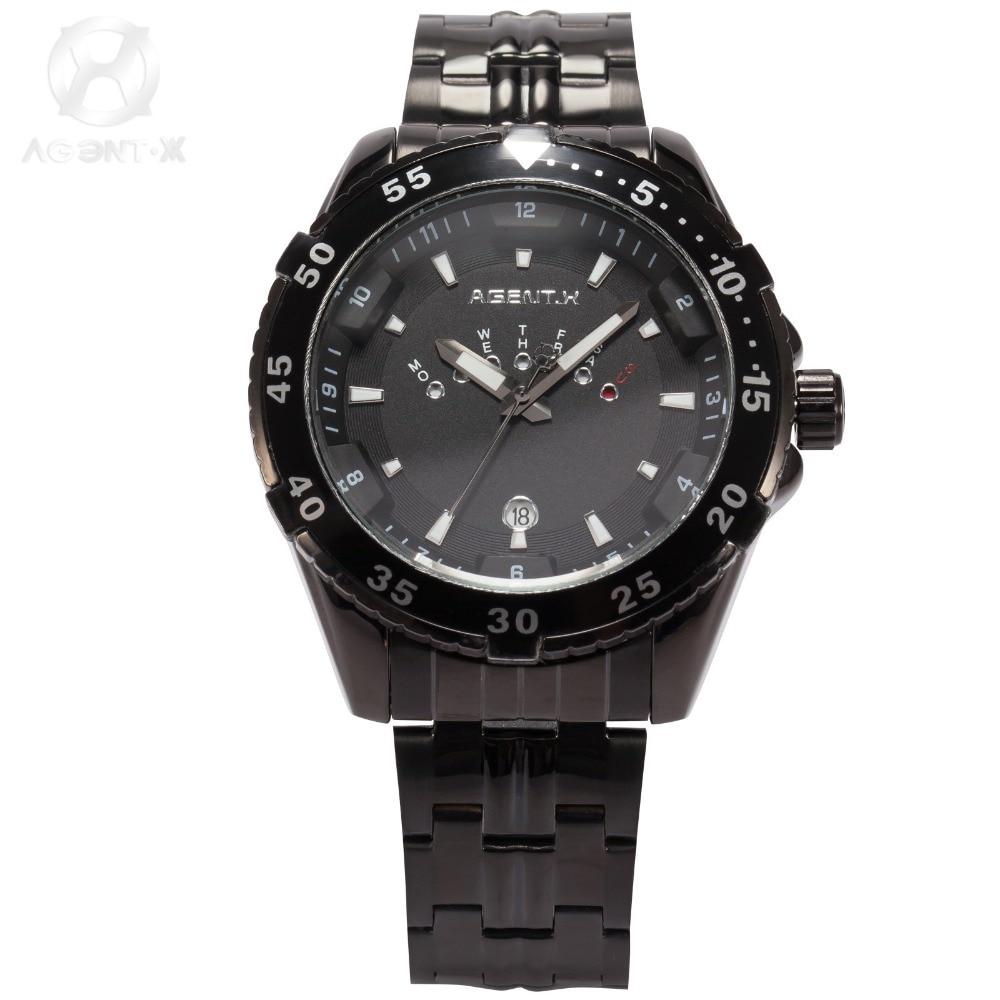La Vitesse Fatale AGENTX Luxury Brand Date Day Display Black Relogio Full Stainless Steel Strap Quartz Men Military Watch/AGX104<br>