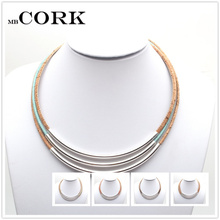 Natural Cork Silver tube Multi-stranded women necklace handmade original wooden jewelry Nw-001(Portugal)