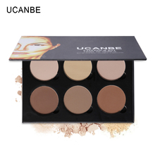 UCANBE 6 Color Professional Contour Powder Palette Highlighter Bronzer Makeup Glow Kit Contouring 3D Face Shading Pressed Powder