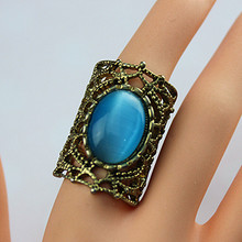Gold wide ring Hollow out alloy large ring set with frosted crystal women fashion jewelry 2015 free shipping hot sale