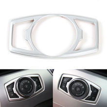 BBQ@FUKA Car Head Light Button Switch Cover Trim ABS Silver/ Red/Blue Fit For 2015 2016 Ford Mustang F150