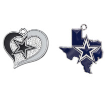10PCS Latest 2 Style Football Dallas Cowboys Charm Enamel Heart Pendant Sport Team Metal Jewelry Pendant Charms(China)