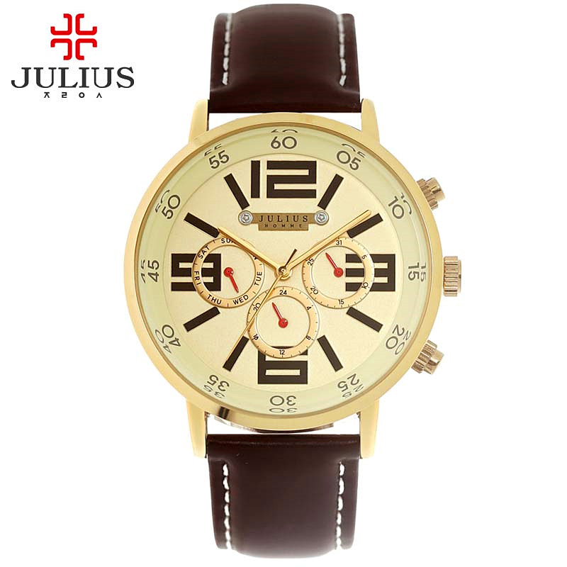 Julius Mens Homme Wrist Watch Fashion Hours Dress Sport Retro Leather Bracelet Student Boy Birthday Christmas Fathers Gift<br>