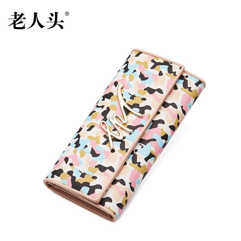 2016 New women evening clutch bag purse quality famous brands wild pvc camouflage pink fashion women  long wallets<br>