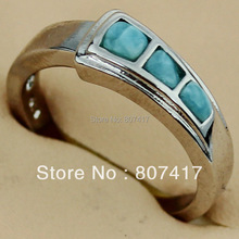 Classic Wholesale Larimar Ring Trendy jewelry Beautiful Silver Plated Promotion Recommend R3539 sz#6 7 8 9 First class products