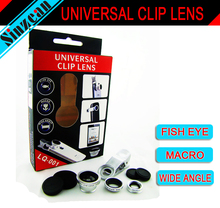 original LIEQI Universal  Lens Clip 3-in-1 Fish eye+Wide Angle+Macro  for iPhone Samsung Galaxy S5 S4 i9600 N9000 iPad