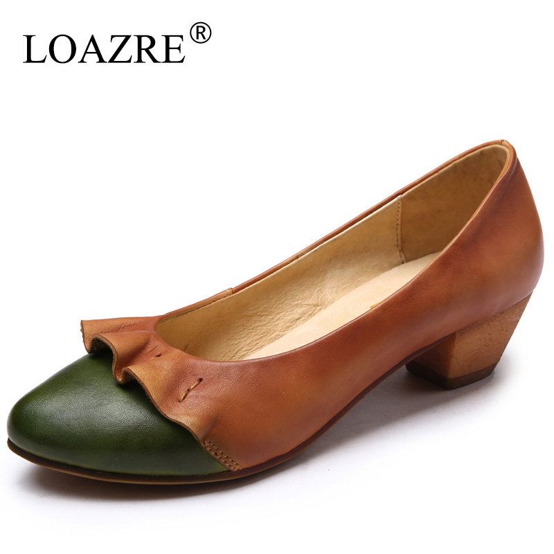 2017 Brand New 100% Real Leather Low Thick Heel Spring Women Mother Casual Western Vintage Retro Comfortable Flat Shoes<br><br>Aliexpress