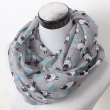 New Women Winter Sheep Ring Scarf Lovely Flower Chevron Print Loop Scarves Female Goat Infinity Shawl Stripe Animal Wrap(China)