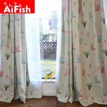 Children Cartoon Boys and Girls Bedroom Curtain Kids Blinds Window Shade Cloth Cute Owl Print Pattern Screening Fabric AP221#20