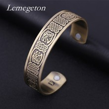 Lemegeton Viking Wristband Engrave Dragon Totems Magnetic Bracelets & Bangles Favourable Blood Circulation Health Jewelry(China)