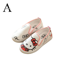 Aercourm A 2017 Spring Children Shoes Girls Cartoon Hello Kitty Girls Shoes Kids Canvas Shoes Kids Sneakers Rose Red White 21-36