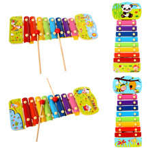 Wooden Cartoon Scene 8 Key Notes Hand Knock Piano Children's Musical Instruments Toys(China)