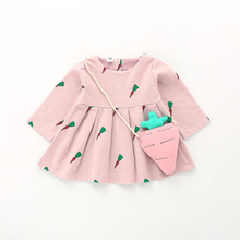 2017 New Autumn Winter Baby Thick Dress Carrot Bag Baby Girl Dress Cotton Fruit Pattern Long Sleeve Clothes baby girl clothes(China)