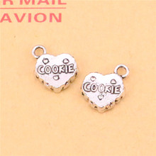 12 pcs Heart Cookie Charms Pendants for Jewelry Making Vintage Antique Silver Plated DIY handmade 15*12mm(China)