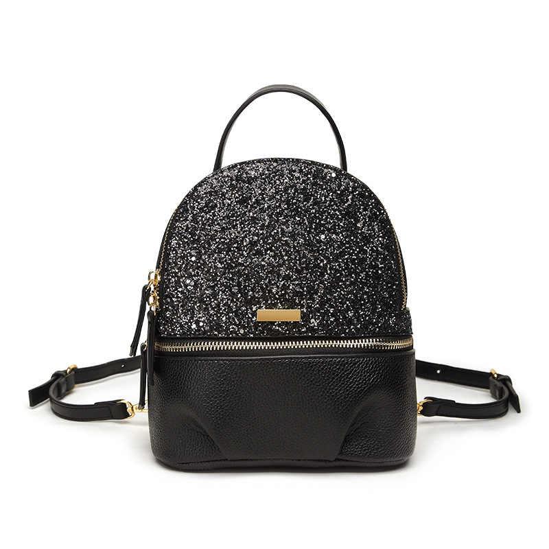 2018 new mini leather Sequins Backpacks for Teenager Girls PU Glitter  Backpack Girls Travel Shoulder Bags 5d8b66501471