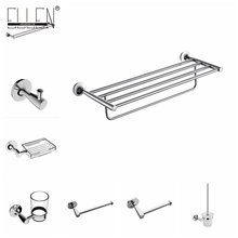 Wall Mounted Chrome Bathroom Accessories Set Towel Holder Toilet Paper Holder Soap Basket Robe Hook Towel Shelf