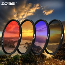 ZOMEI 40.5/49/52/55/58/67/72/77/82mm Ultra Slim frame Graduated Grey(ND) Blue Orange Red filter kit for Canon Nikon Sony camera