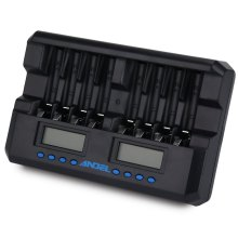 ANDEL 8 Slots AA AAA Smart LCD Charger with Discharge Function for Rechargeable NIMH Ni-Cd Batteries AC 100~240V US Plug