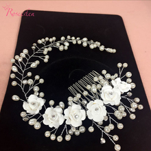 handmade hair combs Bridal floral headband women pearl jewelry hairband bridal tiara wedding accessories hair ornaments RE1