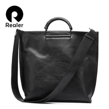 REALER brand women handbag casual large tote bag female high quality artificial leather wide shoulder strap messenger bag clutch