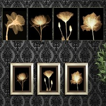 4 Panel Modern  Painting Home Decorative Art Picture Paint on Canvas Prints daffodils, chrysanthemum, lotus flowers and roses